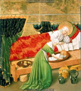 The Birth of Mary from an altarpiece at Kloster Neuburg, c. 1438-1440.JPG