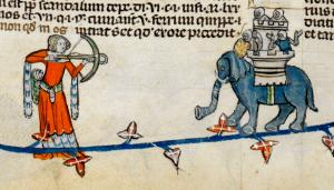Woman armed with crossbow draws a bead on knights in an elephant castle. One of the knights seems to be shrugging. Smithfield decretals. 1300-1340_1.jpg
